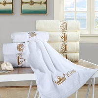 High Quality 1 PCS Embroidered 100 Cotton Luxury Bath Towel Set For Adults Face Towels Crown