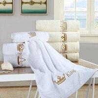 Wysokiej Jakości szybkoschnący 1 SZTUK Haftowane 100% Bawełna Luksusowe Kąpieli Ręcznik Ręcznik Do Twarzy Dla Dorosłych Królewski Król Królowa Rodziny Zestaw ręczników