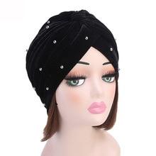Muslim Women Ruffle Velvet Bead turban Hat Scarf Banadans Cancer Chemo Beanie caps Headwear Headwrap Ladies Hair Accessories
