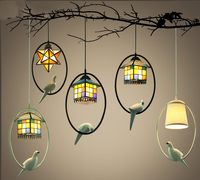 Nordic Creative Tiffany Style Black Iron Resin Bird with Stained Glass Lampshade LED E27 Bulb Pendant Light for Aisle Home