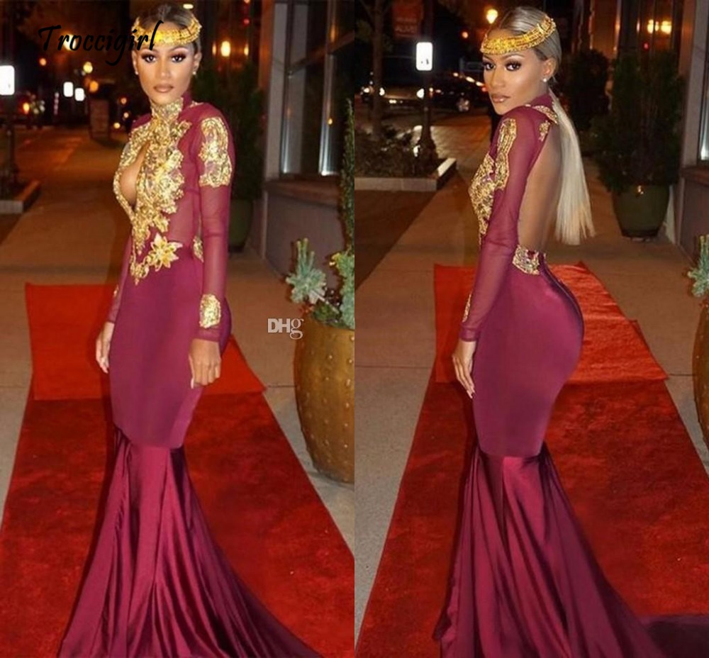 23-1          Sexy Long Sleeves Mermaid Prom Dresses High Neck Appliques Beaded Gold Satin Burgundy Backless African Black Girls Evening Party Dresses