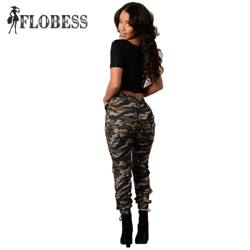 2016 New Women Fashion Army Green Camouflage Pencil Pants Camouflage Skinny Double Pockets Drawstring Slim Long