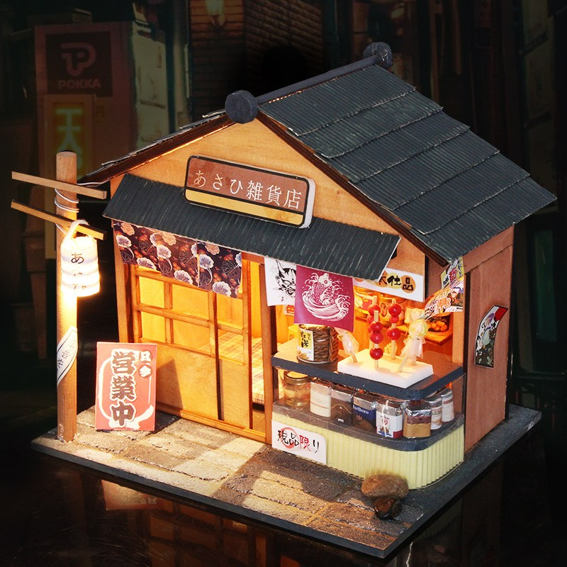 Us 2411 40 Offhoomeda 124 Diy Wooden Grocery With Led Cover Furniture Diy Handmade Dollhouse Kit Doll House Gift Collection In Doll Houses From