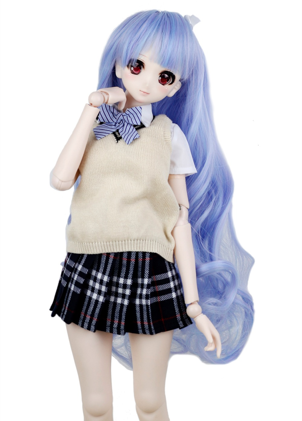 1/3 BJD парик Pullip Даль DD SD СНМП Dollfie Куклы парик высокой Температура волос 8-9 дюймов Длинные волны синий парик