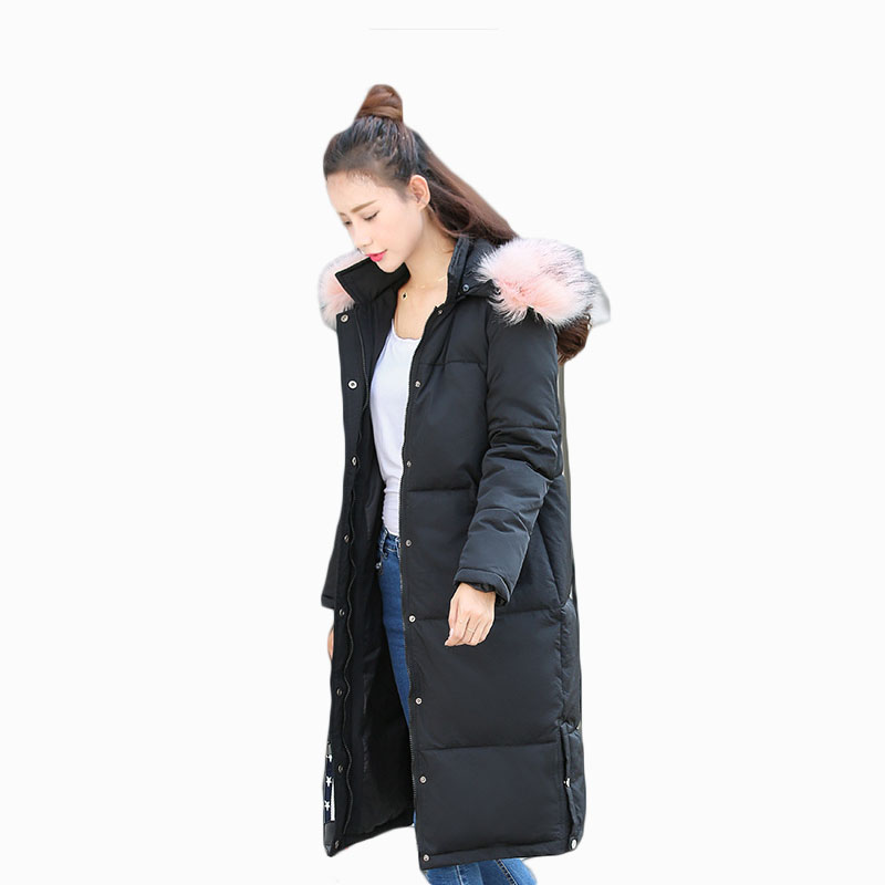 Haute Coton Hot Femelle pink Hiver Chaud Qualité Femmes Col Zl658 Épaissir Parkas Jacker New Fourrure Black De Paddede Mid length Grand Manteau 2017 R5j4AL