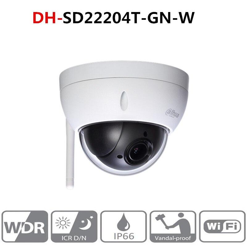 DH originais wi-fi câmera 2MP DH-SD22204T-GN-W WiFI IP HD POE sem fio Da Câmera de Rede Mini Dome PTZ zoom óptico de 4x SD22204T-GN-W
