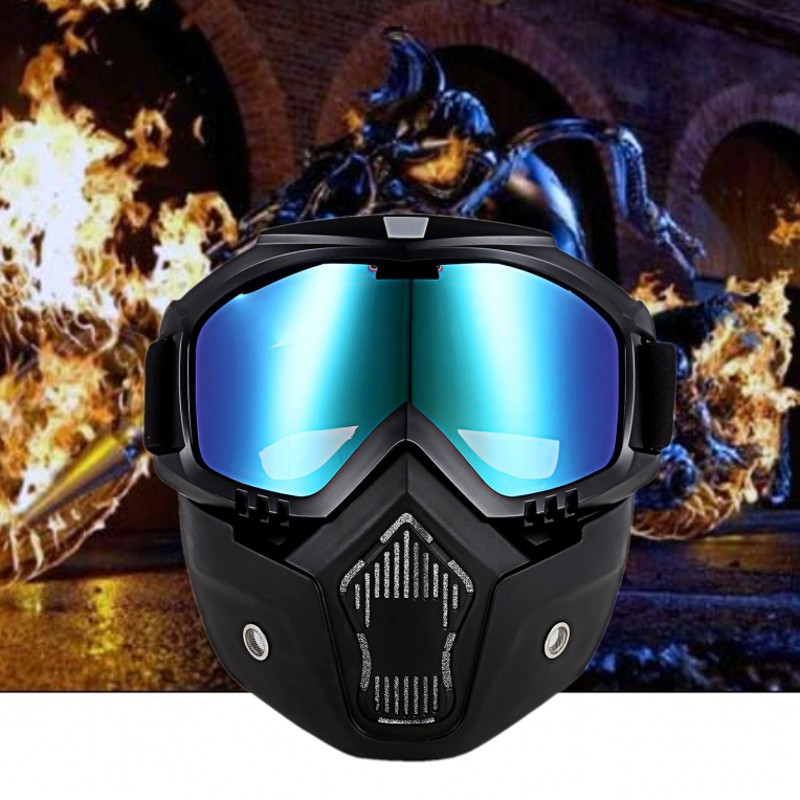 Fashion Multi-purpose Face Mask Detachable Mouth Mask Shield Road Goggles UV Sunglasses Motorcycle Masks And Glasses New