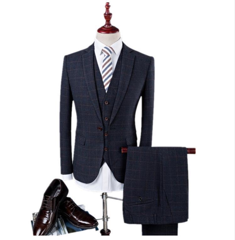 (Jacket+Pant+Vest)Men's Grid Wool Suit Slim Fit Fashion Leisure Wedding Dress Suits Man Business Men Coat Blazers Tuxedo Costume
