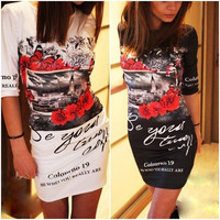 2016 Summer Style Women Sexy Club Mini Dress Bandage Vestidos Fashion Cute Printing Black White Dresses