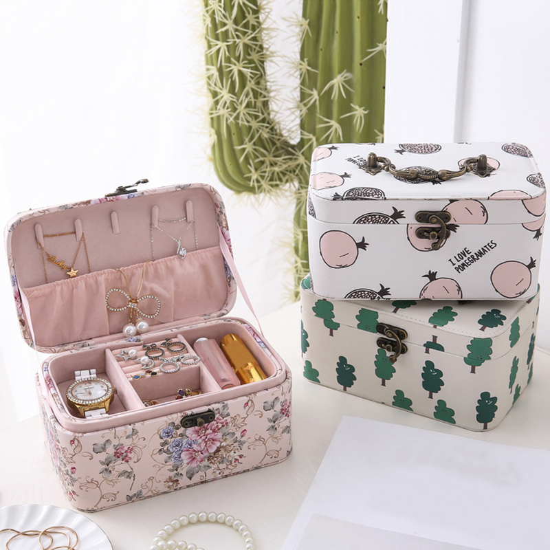PU Makeup Organizer Women Travel Jewelry Box Earrings Necklace Rings Bracelet Display Case Beauty Stud Collection Accessories