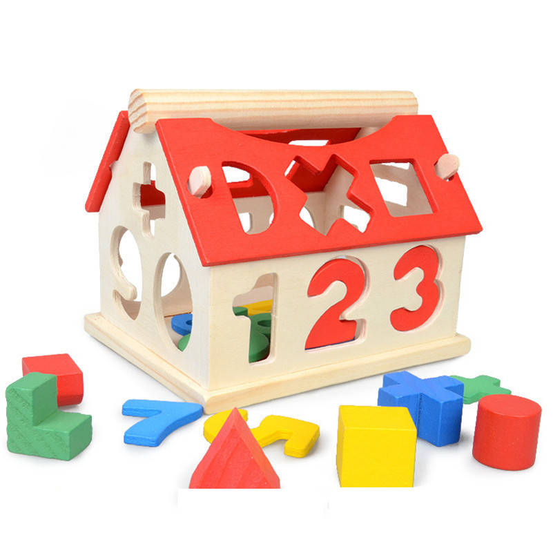 Wooden House Building Blocks Toy Learning Math Number Educational Gift For Baby elc 100 bricks toy wooden building blocks storage bag confirm to en 71 freeshipping