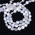 Coin Cultivadas de Água Doce Pérola Beads, Inspirada, natural, branco, 10-11mm, Hole: Aprox 0.8mm, vendido Por 16 Polegada Strand