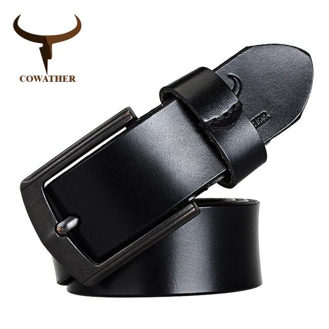 a06e490af27b COWATHER bonne qualité vache véritable ceinture en cuir pour homme pour  hommes goupille en alliage boucle sangle masculine nouveau design ceinture  livraison ...
