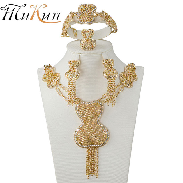 dae4b2a68 MUKUN wholesale Fashion African Gold Color crystal Necklace Earrings Costume  Jewelry Sets Nigerian Women Wedding Jewelry set