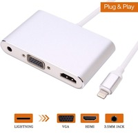 4 in 1 Digital Audio Video HDTV Converter For Lightning to VGA HDMI AV Adapter For iPhone Xs X 8 7 6plus For iPad Air/mini/pro