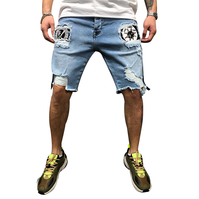 2019 Summer Men's Hole Jeans Men's Knee Length Shorts Jeans Fashion New Style Male's Jeans Solid Casual Man's Short Trousers D40