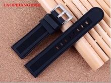 Laopijiang venda de reloj de goma para hombre correa de silicona adaptador Pang Dahai moda relojes accesorios 22 mm negro