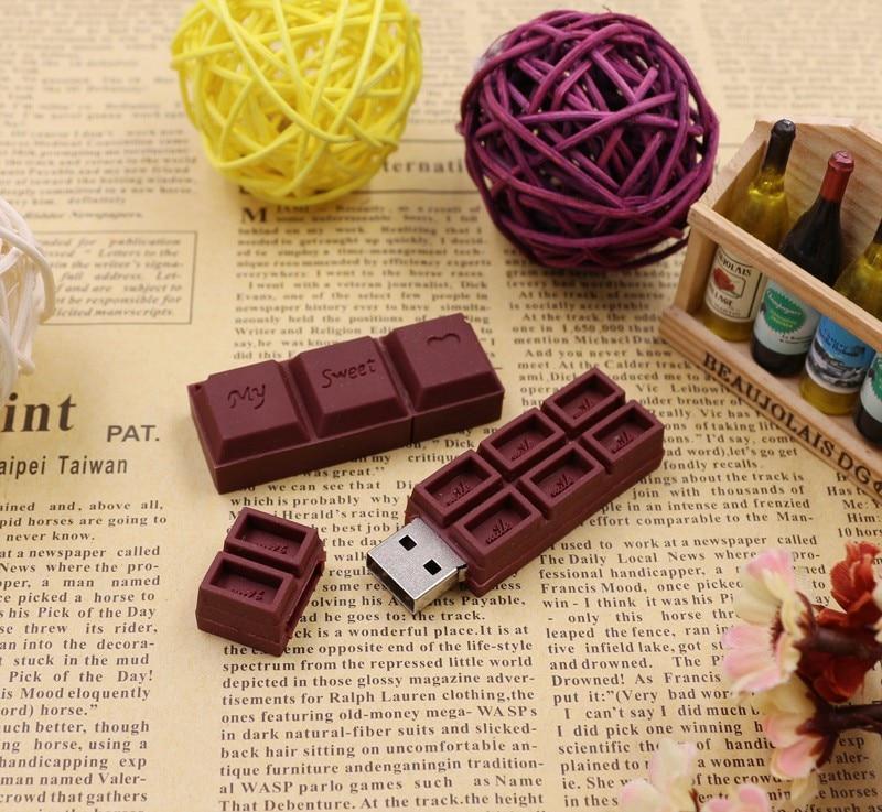 US $2 86 58% OFF|Pen Drive Chocolate Cartoon USB Flash Drive 16G 64G 32G 4G  8GB Flash Memory PenDrive Stick Memory Stick Creative Lovely girl Gif-in