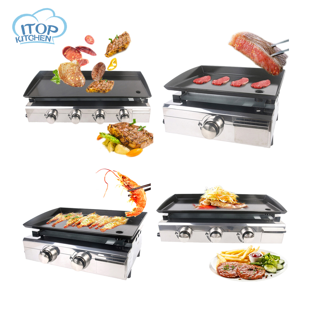 Overseas Warehouse Plancha BBQ Grill Gas Griddle 1/2/3/4 Burners Outdoor Machine Steak Vegetable Cooking Plate