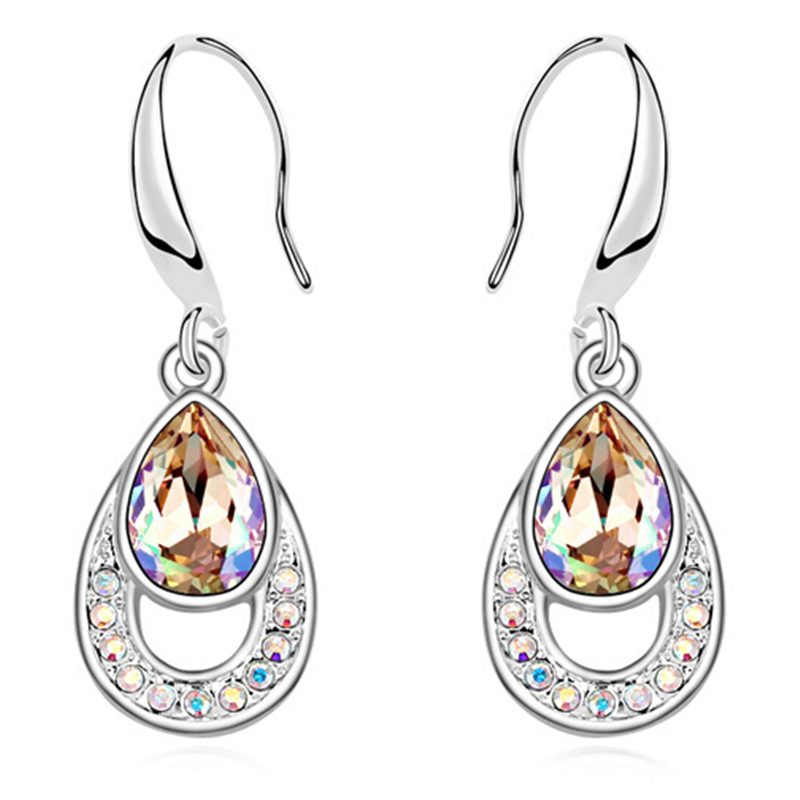 Trendy Water Drop Earrings Crystal from Swarovski Long Dangle Earrings Women White Gold Plated Jewelry 13839