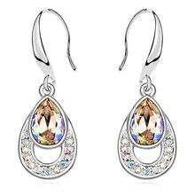 Pendientes de Gota de Agua de Cristal de Swarovski de moda Larga Cuelga Los Pendientes de Las Mujeres del Oro Blanco Plateó La Joyería 13839