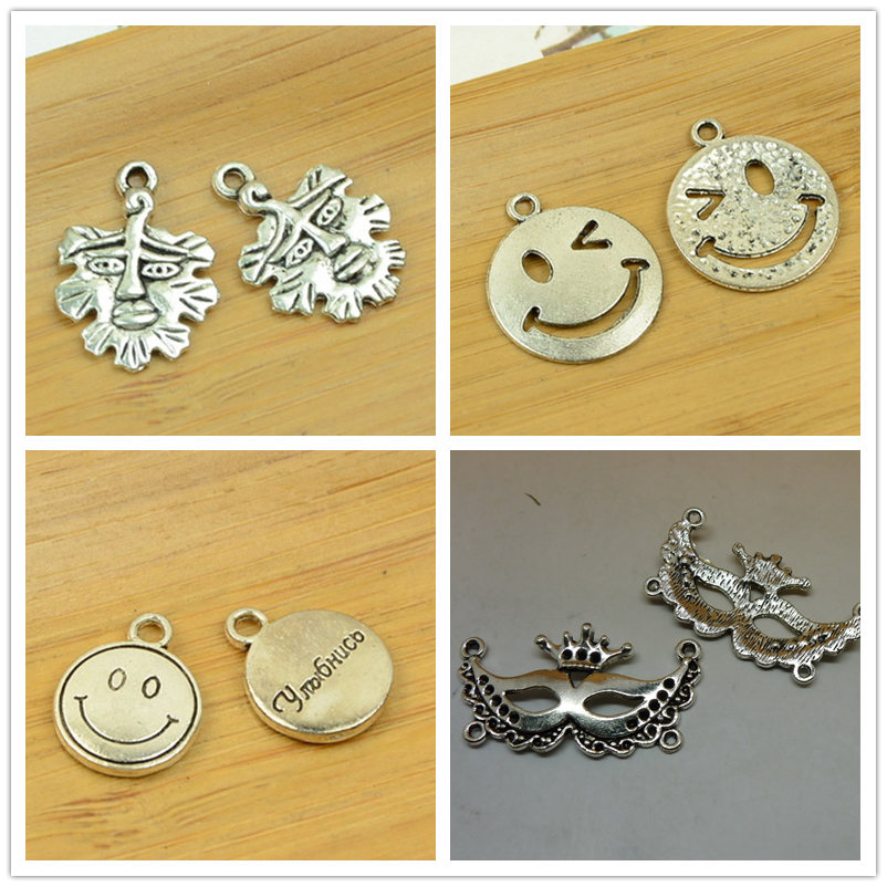 laugh face/mask/expression shape DIY alloy charm pendant bead jewelry making accessories findings antique silver bracelet chain