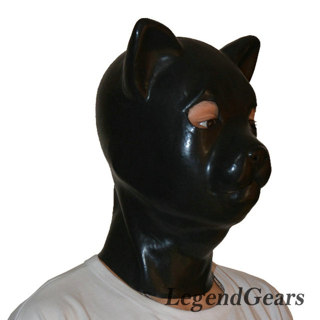 Envío Libre!!! Látex puro Gato Capucha Hood Máscara de Látex Animal para Juegos Sexy y Cosplay