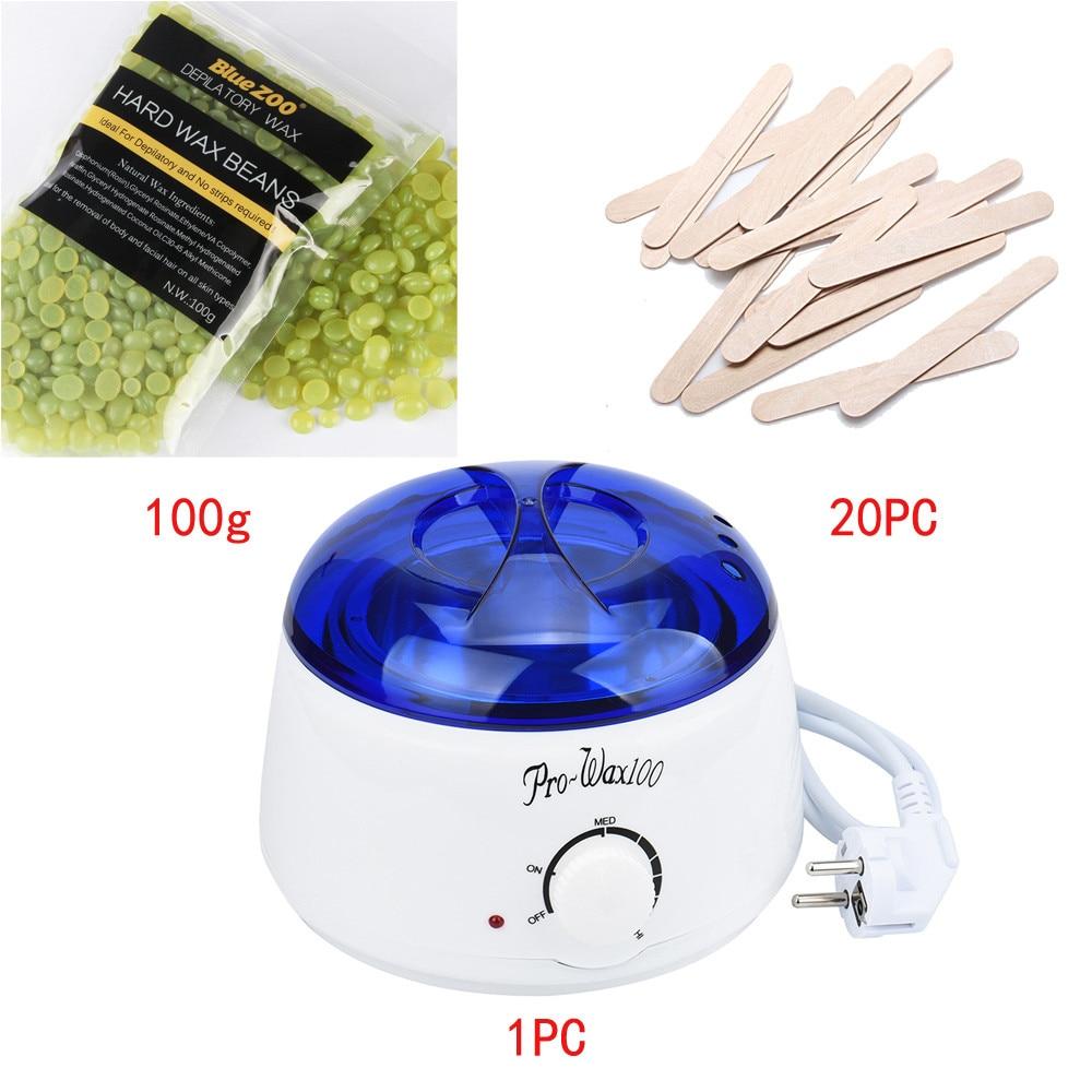 Depilatory Waxing Kit Waxing Heater Warmer Hair Removal Depilatory Include 20Pcs Wooden Sticks+ 100g Hot Wax Beans #121