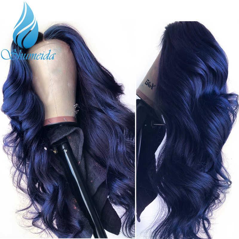 Niebieski kolor 13*6 koronki przodu peruki z wstępnie oskubane Hairline brazylijski Remy włosy ciało koronkowa fala przodu włosów ludzkich peruka z dzieckiem włosy