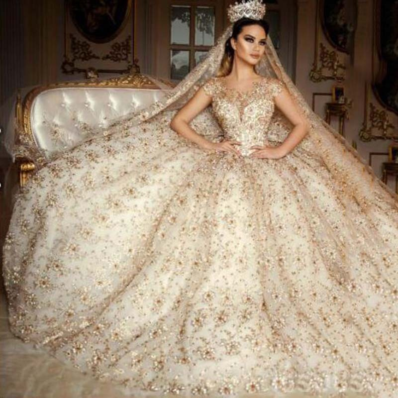 Saudi Arabia Scoop Wedding Dress Cap Sleeve Lace Beaded Gold Crystals Flower Ball Gown Dresses Plus Size Robe De Mariage In From