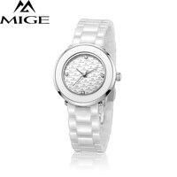 2017 ограниченная распродажа Белый Керамика ремешок модные женские часы Водонепроницаемый Relogio feminino часы кварцевые Для женщин Наручные часы