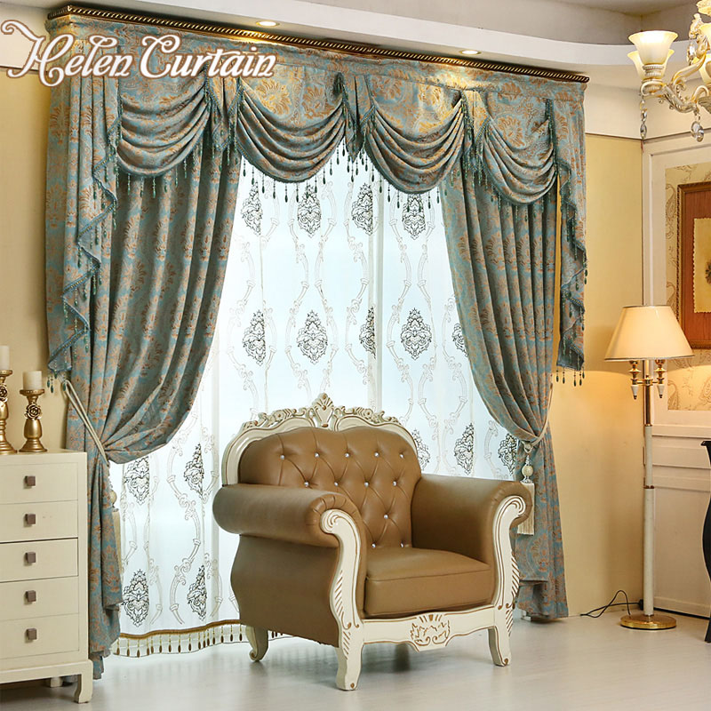 Helen curtain luxury european style chenille jacquard - European style curtains for living room ...