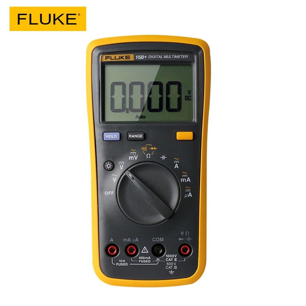 Fluke 15b + multímetro digital faixa automática 4000 contagens ac/dc tensão atual resistência medidor capacitância frequência tester