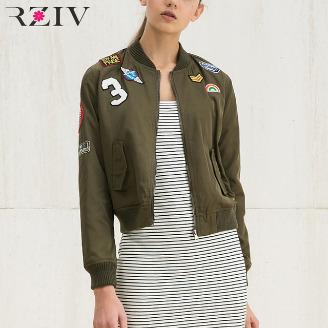 RZIV women bomber jacket basic coats and 2016 female coat flight suit casual women coat embroidered patch women jacket coat