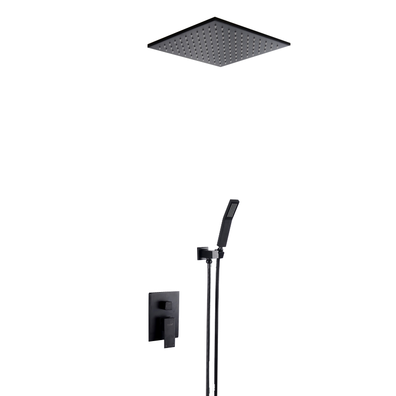 Купить с кэшбэком Luxury Solid Brass Black Finished Concealed Embedded Box Mixer Valve Square Various Style In Wall / Ceiling Mounted Shower Set