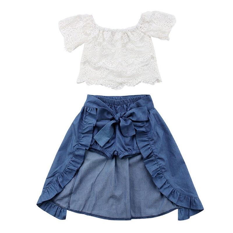 2018 Children Clothing Girl Dress Summer Fashion Girls Clothes Lace White Tops+Denim Shorts + Ruffle Bow Skirt Kids Clothes Set цены онлайн