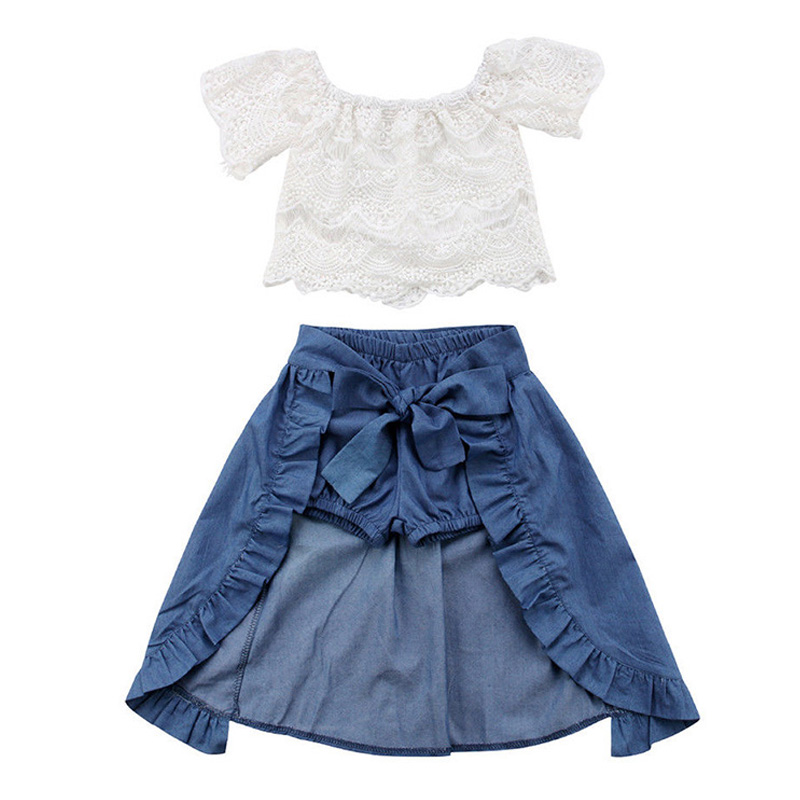 все цены на 2018 Children Clothing Set Girls Dress Fashion Baby Girls Clothes Lace White Tops+Denim Shorts + Ruffle Bow Skirt Kids Clothes
