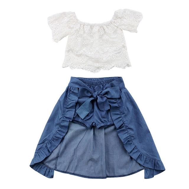 cd932877a Children Clothing Set 2019 Girls Dress Baby Girls Clothes Kids Dresses For  Girls Tops + Shorts