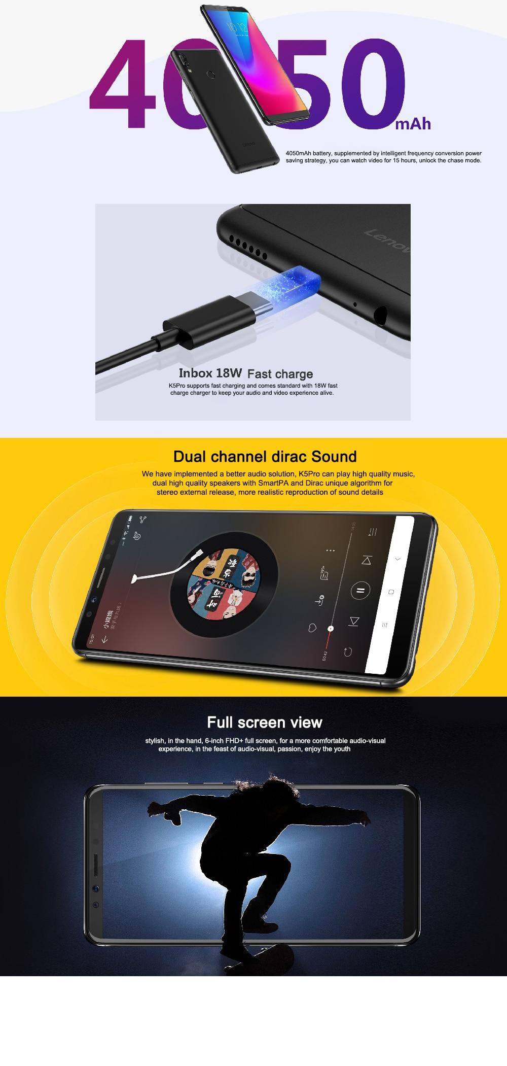 Original Lenovo K5 Pro 6GB RAM 64GB/128GB ROM 4G LTE Mobile Phone  Snapdragon 636 Octa core Android 5 99 16 0MP Fingerprint ID Cell Phone