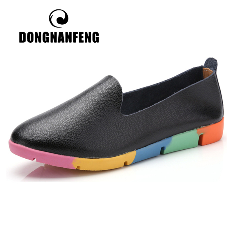 DONGNANFENG Women Flats Mother Ladies Female Shoes Loafers Cow Genuine Leather Pigskin Slip On Feminino Nurse Peas 35-44 AZE-912