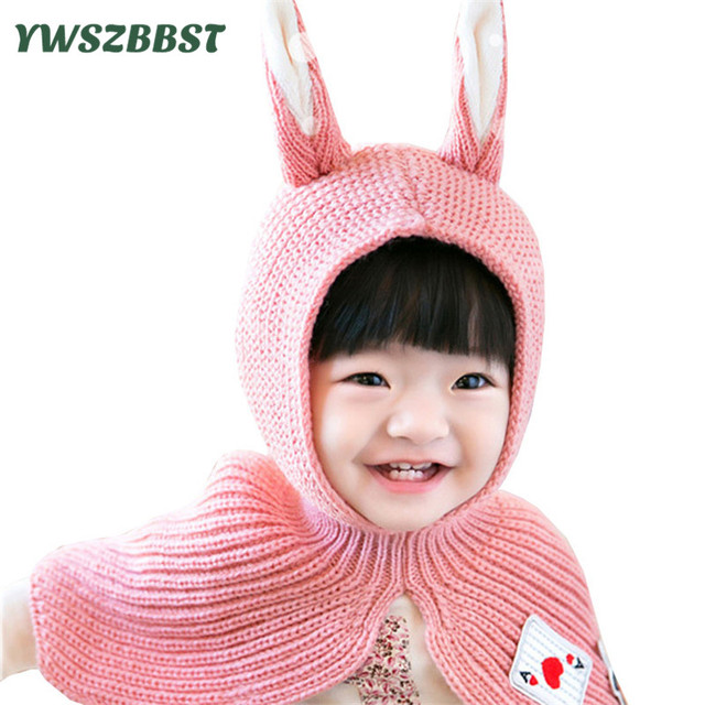 371aa401213 New Fashion Winter Baby Hat with Hood Scarf Cute Rabbit Ear Warm Knit Kids  Baby Hat Cap for Girls and Boys Children Hats