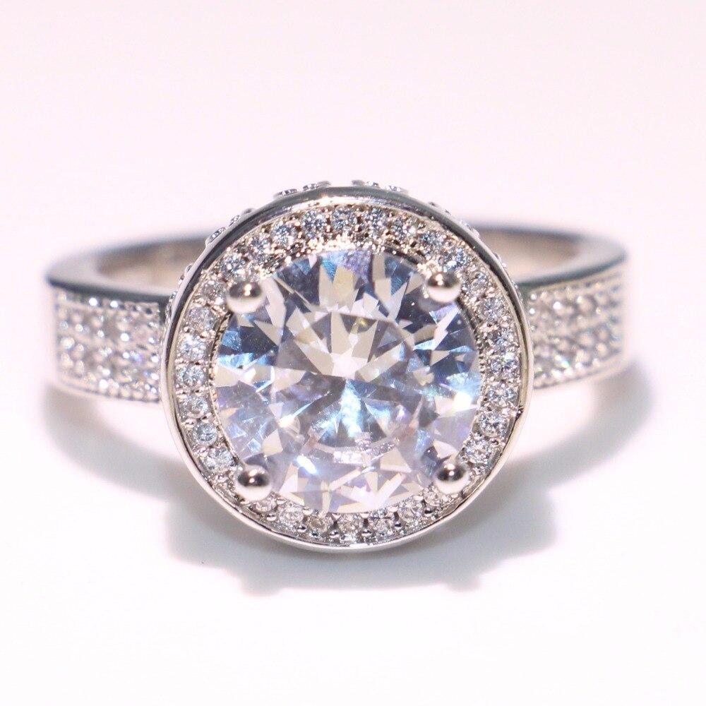 Anneau de mariage couronne éblouissante anneau rond 5A zircon cubique Pave CZ 925 argent Sterling promesse bijoux bague pour les femmes - 4