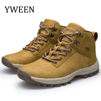 YWEEN Men Hiking Shoes Microfiber Leather Climbing & Fishing New Popular Outdoor High Top Sneakers