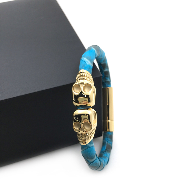 70a0b7d9be1394 mens jewelry bracelet for men online shopping turquoise leather skin gold  double skull bracelets for AP watch lovers