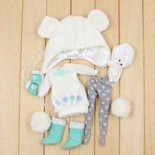 Blyth кукла Снежная Одежда включая платье, леггинсы, шляпу, обувь, перчатки и шарф для 1/6 Кукла шарнирная кукла нео