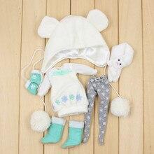 Blyth bambola vestiti di Neve tra cui abito, leggings, cappello, scarpe, guanti e sciarpa per 1/6 Della Bambola BJD NEO