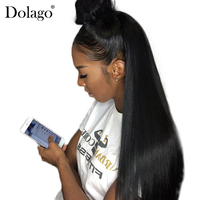 Straight Lace Front Human Hair Wigs For Women 250% Density Brazilian 13x4 Lace Frontal Wig Pre Plucked Natural Black Dolago Remy