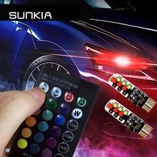 цена на 2Pcs/Set SUNKIA RGB T10 W5W Car Clearance Lights RGB COB T10 LED 194 168 Bulb Remote Width Interior Lighting Source Car Styling