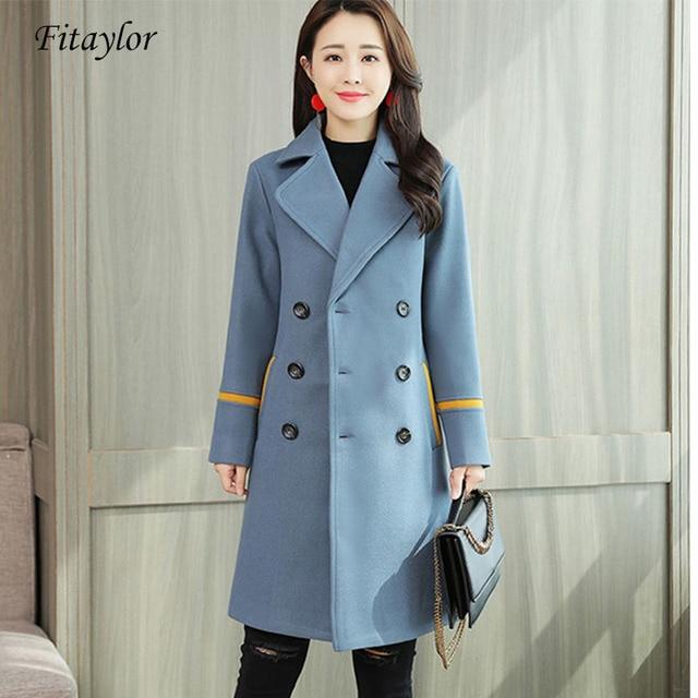 Fitaylor 2019 femmes élégant manteau en laine veste hiver printemps grande taille 3XL bouton Double boutonnage Slim Long laine vêtements d'extérieur