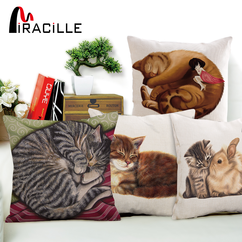 "Miracille Cotton Linen Square 18 ""Cartoon Lovely Sleep Rizado Cat Throw Sofa Cushion Home Dormitorio Decorativo Coussin Sin Relleno"